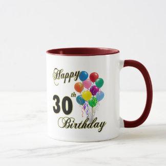 Glückliche 30. Geburtstags-Geschenke und Tasse