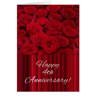 Glückliche 4. Jahrestags-Rosen Karte