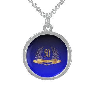 Glückliche 50. Hochzeits-Sterlingsilber-runde Sterlingsilber Halskette