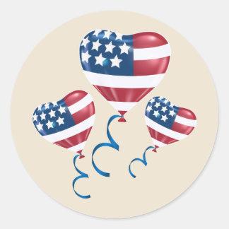 Glückliche am 4. Juli Herzballone Runder Aufkleber
