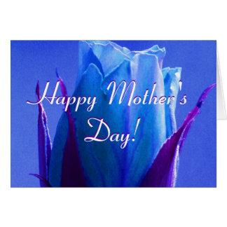 Glückliche Blau-Rose der Mutter Tages Grußkarten