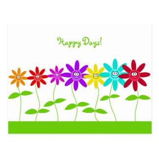Glückliche Blumen, glückliche Tage! Postkarte