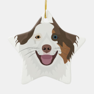 Glückliche Border-Collie Gesicht der Illustration Keramik Ornament