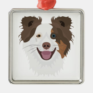 Glückliche Border-Collie Gesicht der Illustration Silbernes Ornament