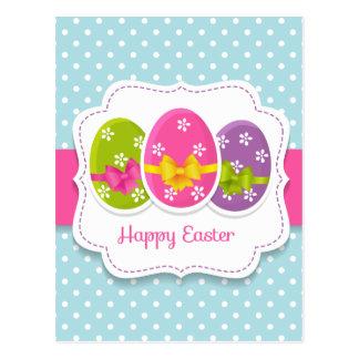 Glückliche bunte grüßende Eier Ostern Postkarte