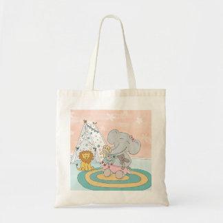 Glückliche Elefant-und Freunde Taschentasche Tragetasche