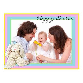 Glückliche Familien-Foto-Pastellpostkarte Ostern Postkarte