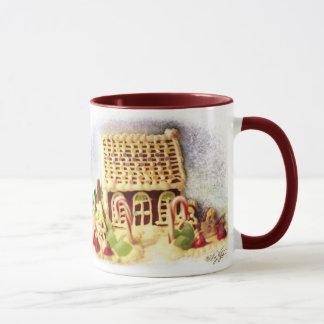 Glückliche Feiertags-Lebkuchen-Haus-Tasse Tasse