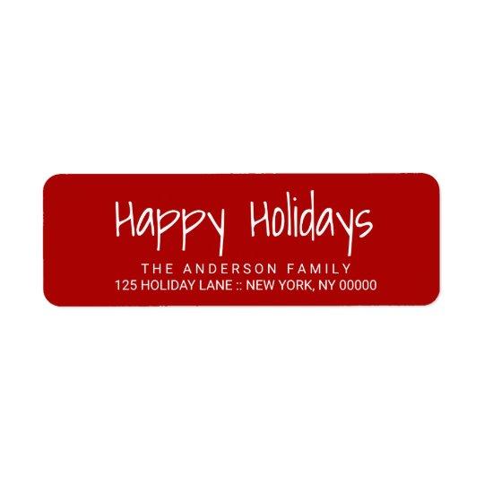 Glückliche Feiertags-niedlicher handgedruckter Rücksendeetiketten