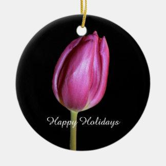 Glückliche Feiertags-rosa Tulpe-Blumen-BlumenFotos Keramik Ornament