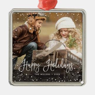 Glückliche Feiertags-Schnee-Foto-Verzierung Silbernes Ornament
