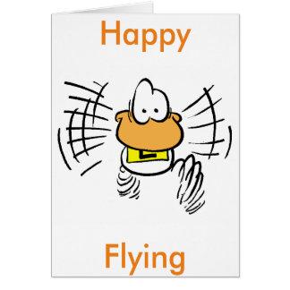 Glückliche Fliegen-Luftfahrt-Cartoon-Gruß-Karte Grußkarte
