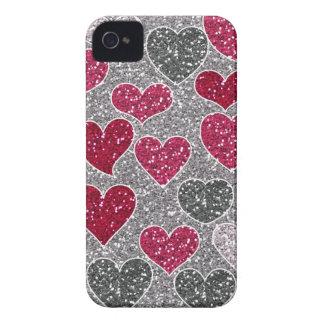 Glückliche Glitzer-Liebe Bling Herzen des iPhone 4 Case-Mate Hülle