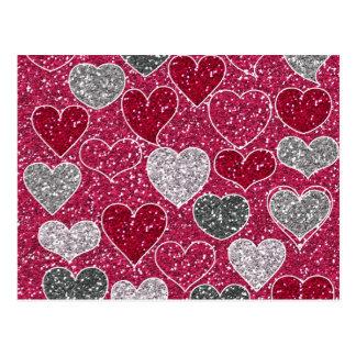 Glückliche Glitzer-Liebe Bling Herzen des Postkarte