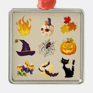 Glückliche Halloween-Illustrationen Silbernes Ornament