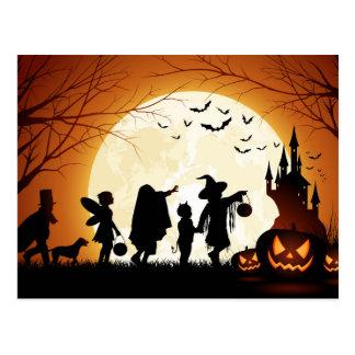 Glückliche Halloween-Silhouette-Kinder Postkarte
