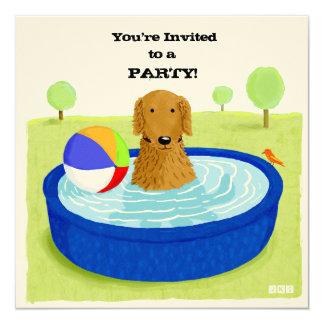 Glückliche Hundepool-Party Einladung