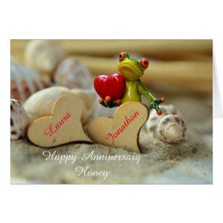 Glückliche Jahrestags-Karte mit niedlichem Frosch Grußkarte