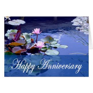 Glückliche Jahrestags-, Wasserlilie-und Grußkarte
