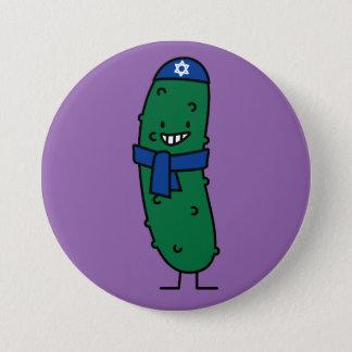 Glückliche jüdische Essiggurken-Essiggurken Runder Button 7,6 Cm