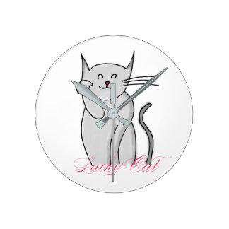Glückliche Katzen-runde mittlere Wanduhr