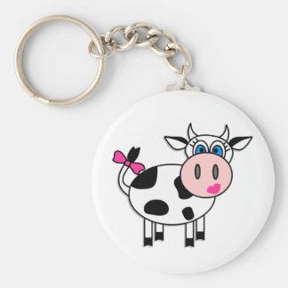 Glückliche Mädchen-Kuh Schlüsselanhänger