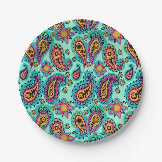 Glückliche Minze und orange Paisley-Muster Pappteller