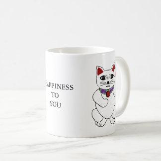 """Glückliche Neko Katze """"Glück zu Ihnen"""" Tasse"""