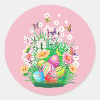 Glückliche Ostereier und Blumenmuster Runder Aufkleber