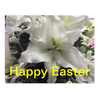 Glückliche Osterlilien-Postkarte Postkarte