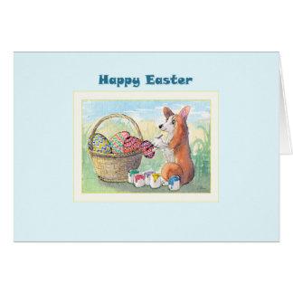 Glückliche Ostern-Karte, Corgihund, der Ostereier Karte