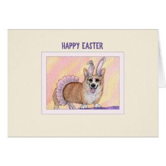 Glückliche Ostern-Karte, Corgihund im Karte