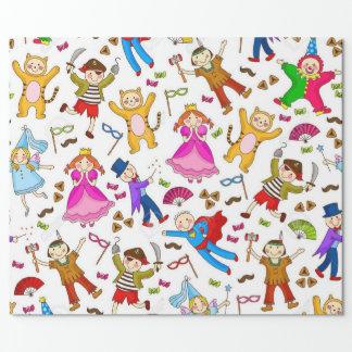 Glückliche Purim Kinder im Kostüm Geschenkpapier