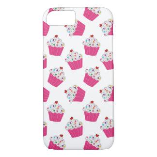 Glückliche rosa Herz-kleine Kuchen - süßes großes iPhone 7 Hülle