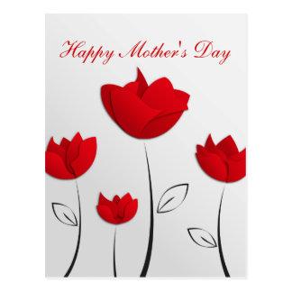 Glückliche Rot-Blumen der Mutter Tages Postkarte