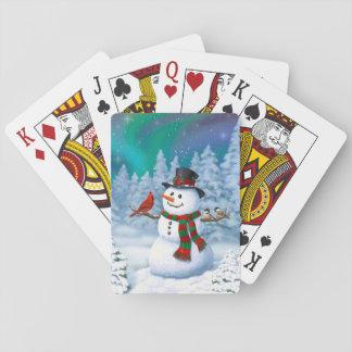 Glückliche Schneemann-und Winter-Vögel Kartendeck