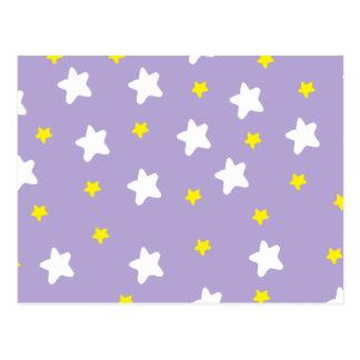 Glückliche Sterne lila Postkarte