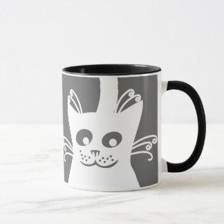 Glückliche weiße Katze Tasse