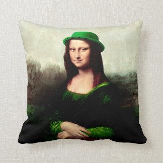 Glücklichen Mona Lisa St Patrick TagesKleeblatt Kissen