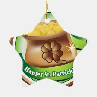 Glücklichen St Patrick Tag, irischer Keramik Stern-Ornament