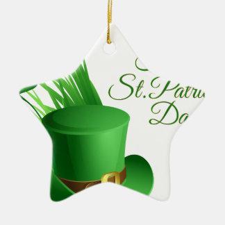 Glücklichen St Patrick Tag, irisches Hutheiliges Keramik Stern-Ornament