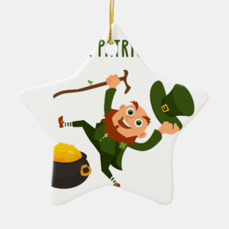 Glücklichen St Patrick Tag Keramik Stern-Ornament
