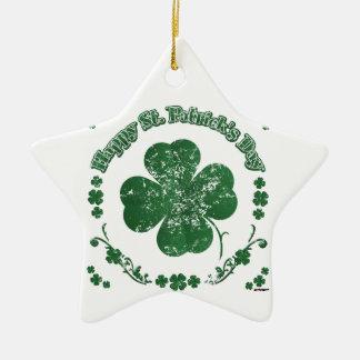 Glücklichen St Patrick Tag - Vintage Art Keramik Stern-Ornament