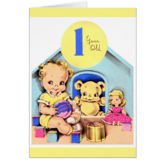 Glücklicher 1. Geburtstag - Mädchen Grußkarte
