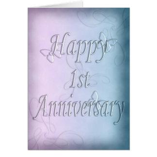 Glücklicher 1. Jahrestag (Jahrestagskarte) Grußkarte