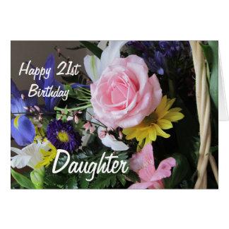 Glücklicher 21. Geburtstags-Tochter-Rosa Karte