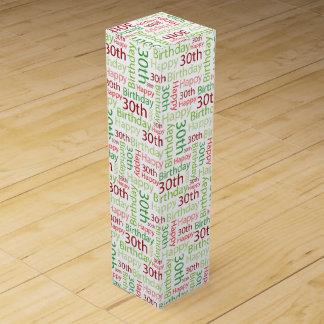 Glücklicher 30. Geburtstags-buntes rosa und grün Wein-Geschenkverpackung