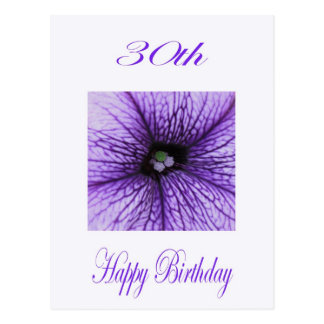 Glücklicher 30. Geburtstags-lila Blüte Postkarte
