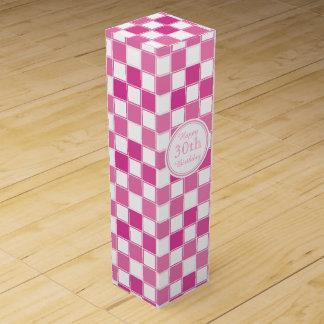 Glücklicher 30. Geburtstags-rosa und weiße Wein-Geschenkverpackung
