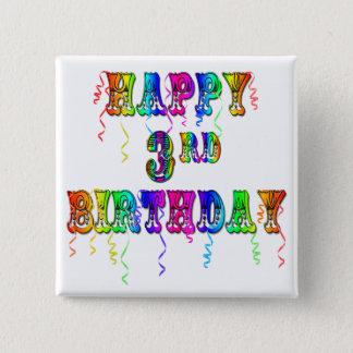 Glücklicher 3. Geburtstags-Zirkus-Schriftart - Quadratischer Button 5,1 Cm